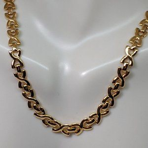 Classic Avon Signed Gold Chain X Texture Necklace